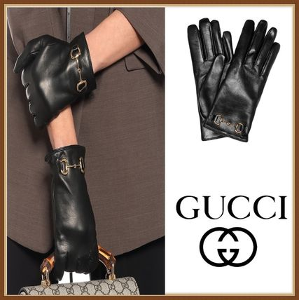 GUCCI Unisex Leather Logo Leather & Faux Leather Gloves