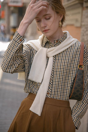 Other Plaid Patterns Casual Style Unisex Long Sleeves Cotton
