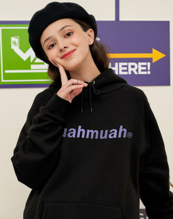 muahmuah Street Style Long Sleeves Cotton Oversized Logo