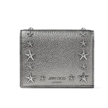 Star Unisex Calfskin Studded Street Style Plain Leather