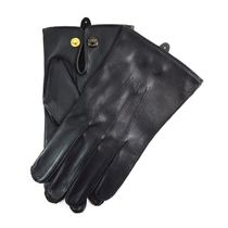 DENTS Plain Leather Logo Leather & Faux Leather Gloves
