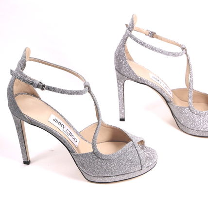 Jimmy Choo Open Toe Blended Fabrics Pin Heels Party Style Elegant Style