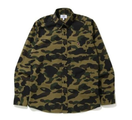 A BATHING APE Camouflage Street Style Long Sleeves Cotton Shirts