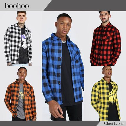 boohoo Shirts Button-down Other Plaid Patterns Street Style Long Sleeves