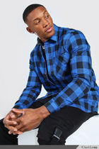 boohoo Shirts Button-down Other Plaid Patterns Street Style Long Sleeves 8