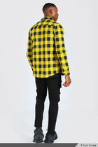 boohoo Shirts Button-down Other Plaid Patterns Street Style Long Sleeves 16