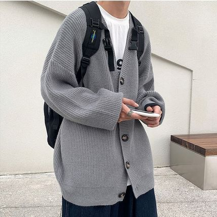 Cable Knit Pullovers Button-down Unisex Sweat Nylon