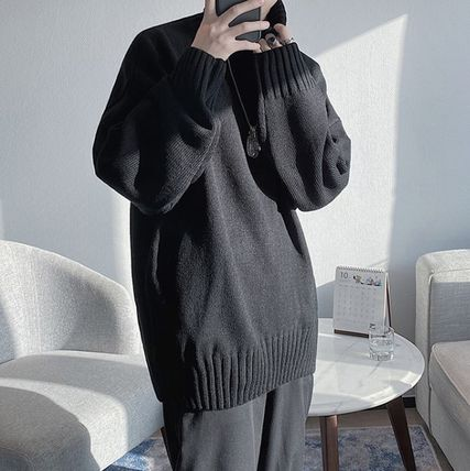 Sweaters Pullovers Street Style Long Sleeves Plain Oversized Sweaters 3