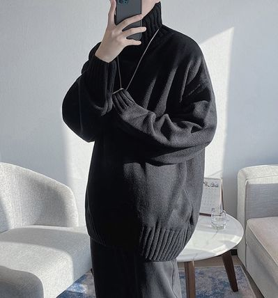 Sweaters Pullovers Street Style Long Sleeves Plain Oversized Sweaters 4