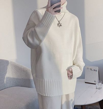 Sweaters Pullovers Street Style Long Sleeves Plain Oversized Sweaters 6