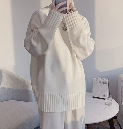 Sweaters Pullovers Street Style Long Sleeves Plain Oversized Sweaters 8