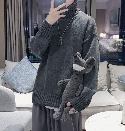 Sweaters Pullovers Street Style Long Sleeves Plain Oversized Sweaters 16