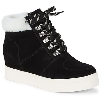 Wedge Lace-up Casual Style Suede Faux Fur Street Style Plain