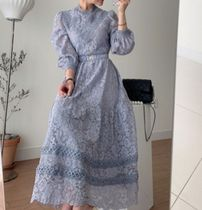 A-line Long High-Neck Lace Puff Sleeves Bridal Dresses