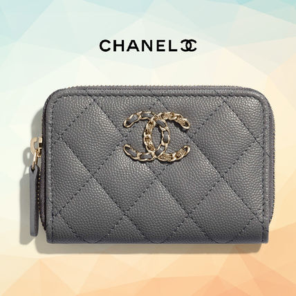 CHANEL Calfskin Plain Leather Small Wallet Coin Cases