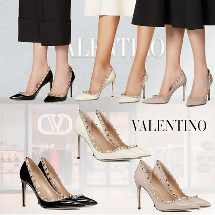 VALENTINO Casual Style Enamel Studded Plain Leather Pin Heels