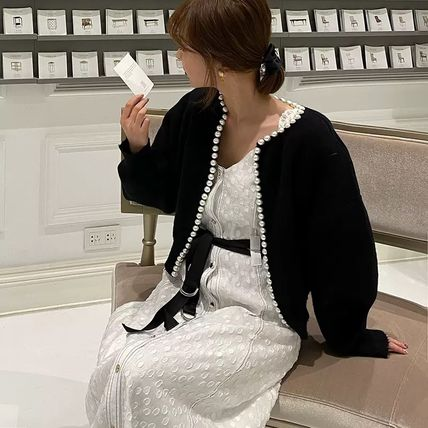 Casual Style Wool Long Sleeves Plain Long Office Style Gowns