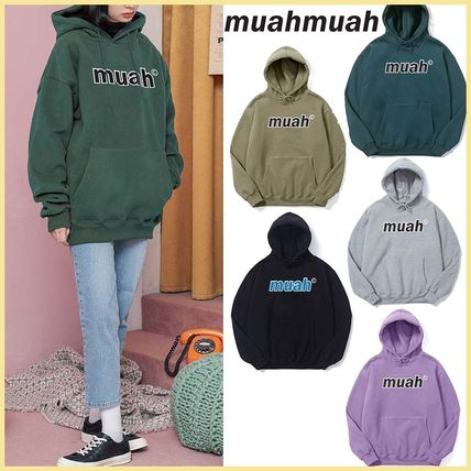 muahmuah Street Style Long Sleeves Plain Cotton Logo