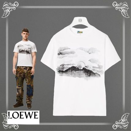 LOEWE Crew Neck Crew Neck Blended Fabrics Street Style Cotton Short Sleeves