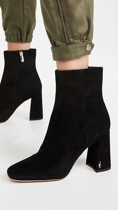 Square Toe Casual Style Suede Plain Leather Block Heels