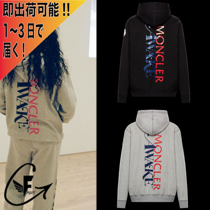 MONCLER Hoodies Unisex Nylon Street Style Collaboration Long Sleeves Logo