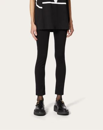 VALENTINO Plain Cotton Long Wide & Flared Jeans