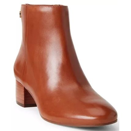 Ralph Lauren Round Toe Casual Style Plain Leather Block Heels Party Style