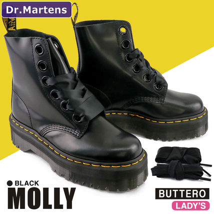 Dr Martens MOLLY Platform Lace-up Casual Style Plain Leather Lace-up Boots