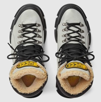 GUCCI Mountain Boots Street Style Collaboration Leather Logo