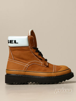 DIESEL Plain Toe Mountain Boots Suede Blended Fabrics Street Style