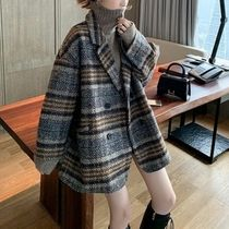 Stand Collar Coats Other Plaid Patterns Casual Style Wool