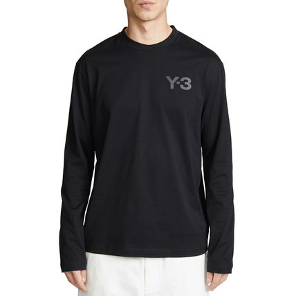 Y-3 Crew Neck Street Style Long Sleeves Plain Cotton