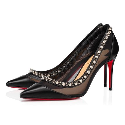 Christian Louboutin Casual Style Studded Street Style Plain Leather Pin Heels