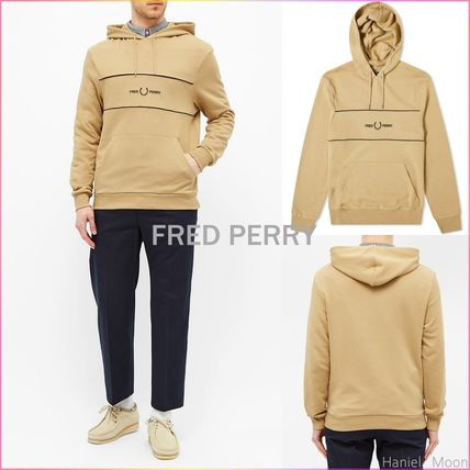 FRED PERRY Hoodies Street Style Long Sleeves Plain Cotton Logo Hoodies