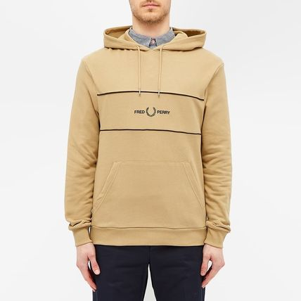 FRED PERRY Hoodies Street Style Long Sleeves Plain Cotton Logo Hoodies 2