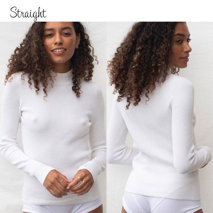 Casual Style Silk Nylon Long Sleeves Plain Cotton High-Neck