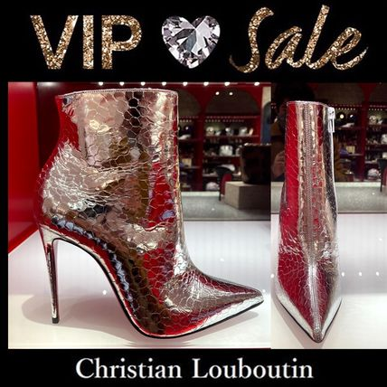 Christian Louboutin Casual Style Blended Fabrics Leather Block Heels Party Style