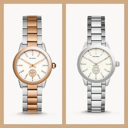 Tory Burch Leather Metal Round Quartz Watches Analog Watches