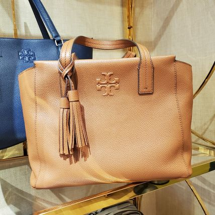 Tory Burch Casual Style A4 2WAY Plain Leather Crossbody Formal Style