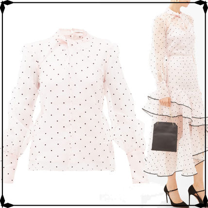 Dots Casual Style Silk Long Sleeves Party Style