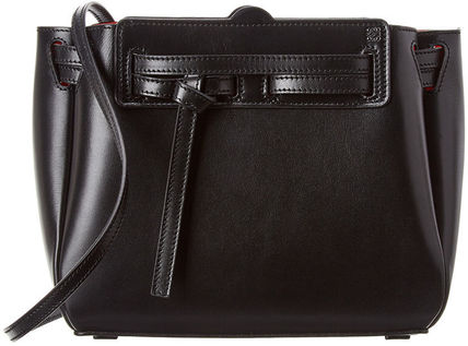 LOEWE LAZO Crossbody Logo Unisex 2WAY Plain Leather Handbags