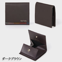 Paul Smith Stripes Unisex Leather Logo Coin Cases