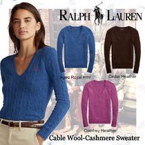 Ralph Lauren Cable Knit Casual Style Cashmere V-Neck Long Sleeves Plain