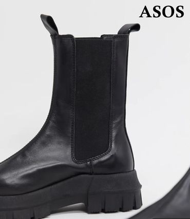 ASOS Platform Round Toe Casual Style Plain Leather Chelsea Boots