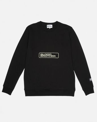 Crew Neck Street Style Long Sleeves Logo Sweatshirts