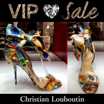 Christian Louboutin Open Toe Casual Style Blended Fabrics Plain Party Style