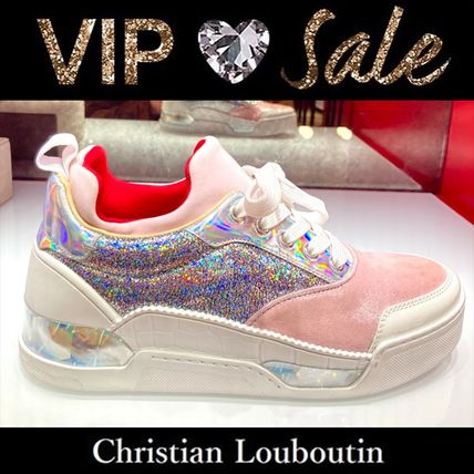 Christian Louboutin Rubber Sole Lace-up Casual Style Blended Fabrics Studded
