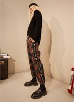 ELF SACK Printed Pants Tartan Other Plaid Patterns Casual Style