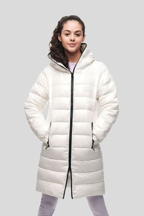 Nylon Street Style Plain Medium Logo Down Jackets