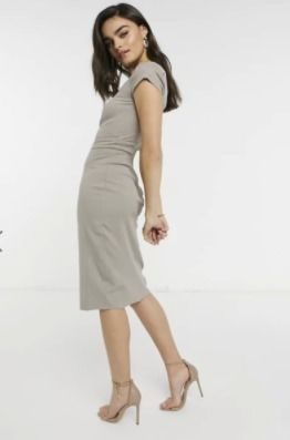 Crew Neck Plain Medium Midi Elegant Style Dresses